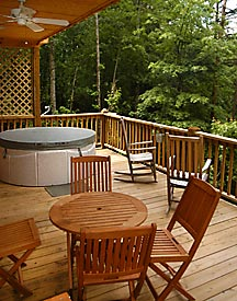 The back porch with hot tub